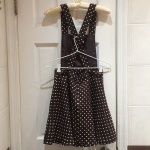 Forever 21 Dresses - F21 Wine Brown Polka Dot Overall Pinafore Dress